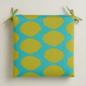 Green and Aqua Dotted Ikat Outdoor Chair Cushion
