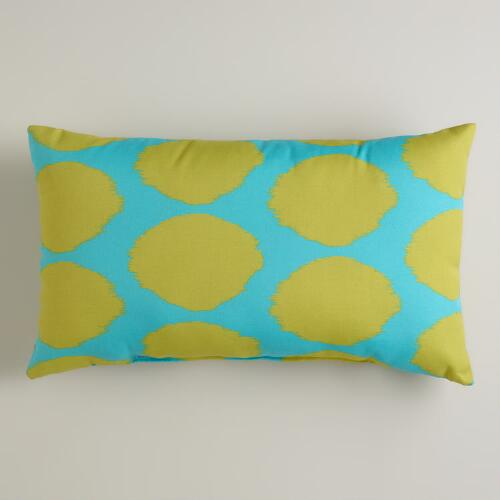 Green and Aqua Dotted Ikat Outdoor Lumbar Pillow