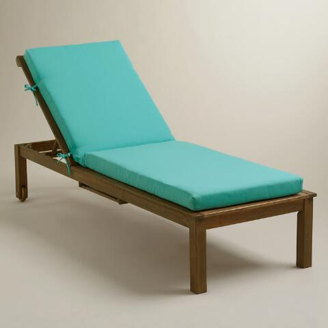 Aqua outdoor chaise lounge cushion world market for Aqua chaise lounge cushions