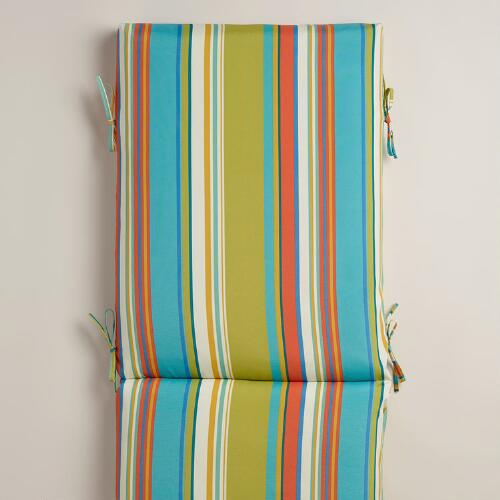 Striped Santorini Outdoor Chaise Lounge Cushion