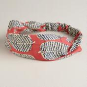 Coral and Blue Leaf Soft Headband