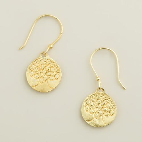 Gold Tree Drop Earrings