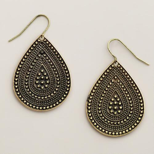 Gold Tribal Teardrop Earrings