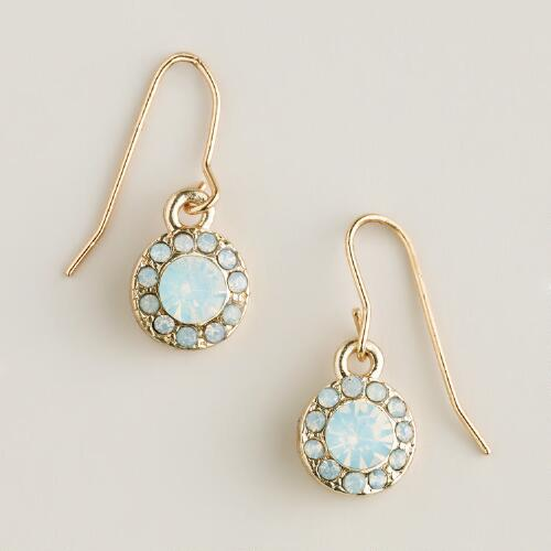 White Opal Sparkle Drop Earrings