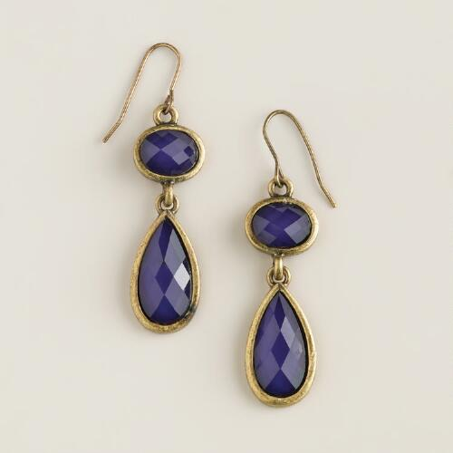Purple and Gold Faceted Double Drop Earrings
