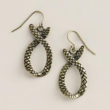 Gold Snake Drop Earrings