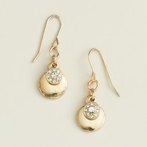 Small Gold Pavé Drop Earrings