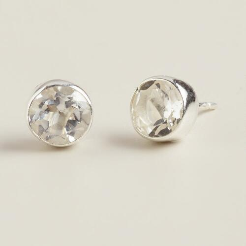 Silver and Crystal Stud Earrings