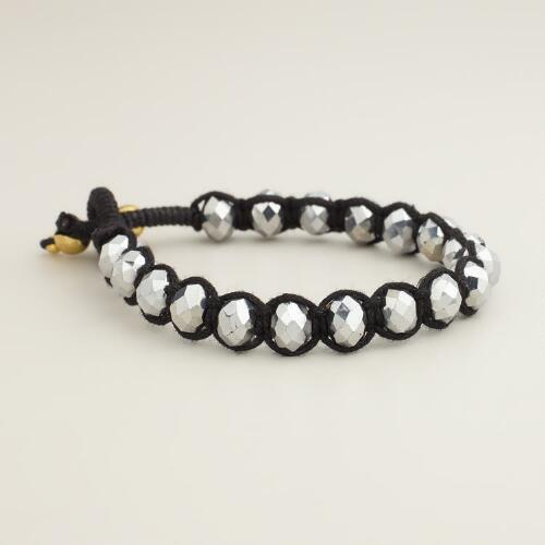 Black and Silver Sparkle Beaded Friendship Bracelet