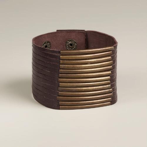 Brown Leather and Metal Snap Row Bracelet