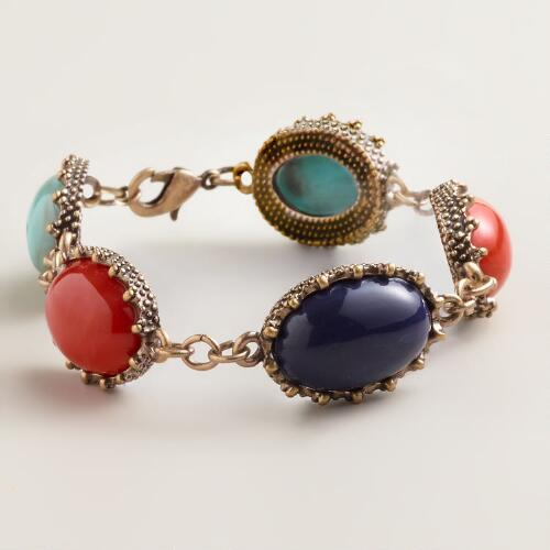 Turquoise and Rust Stationary Stones Bracelet