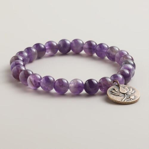 Purple Beaded Lotus Charm Bracelet