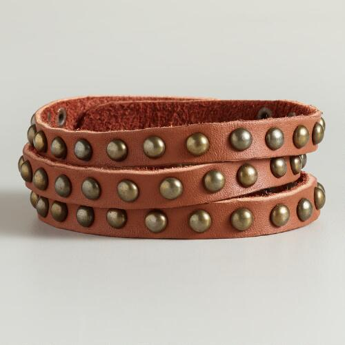 Brown Studded Leather 3 Row Bracelet