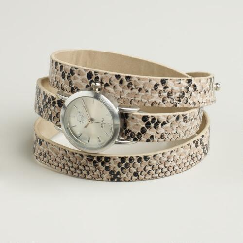 Silver Stud Snake Wrap Watch