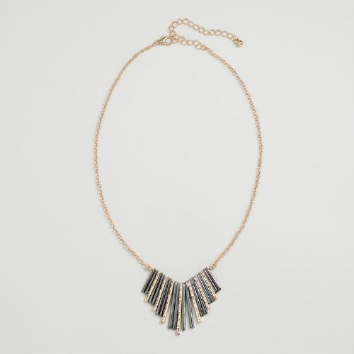 Gold and Hematite Metal Fringe Pendant Necklace