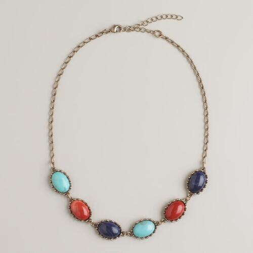 Turquoise, Rust and Blue Stone Chain Necklace