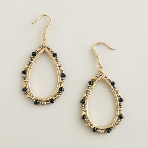 Black and Beaded Teardrop Earrings