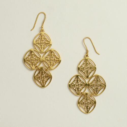 Gold Filigree Chandelier Earrings