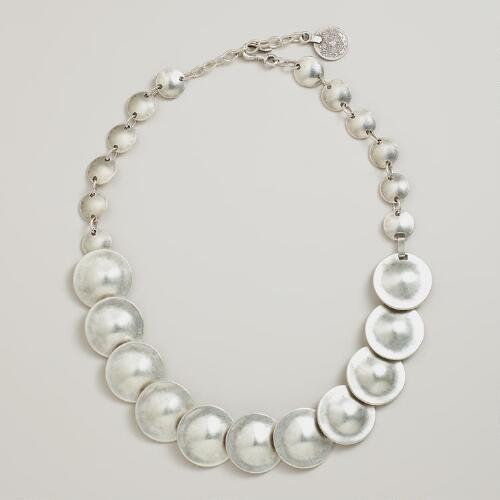 Silver Oval Discs Necklace