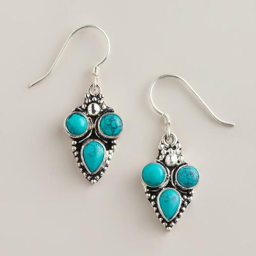 Silver Etched Turquoise Drop Earrings