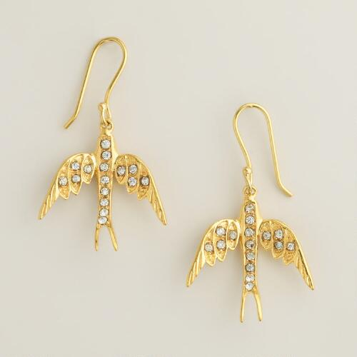 Gold Rhinestone Bird Drop Earrings