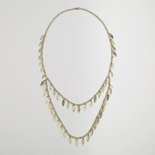Gold Layered Leaf Fringe Necklace