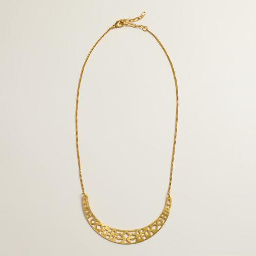 Gold Metal Geo Crescent Necklace
