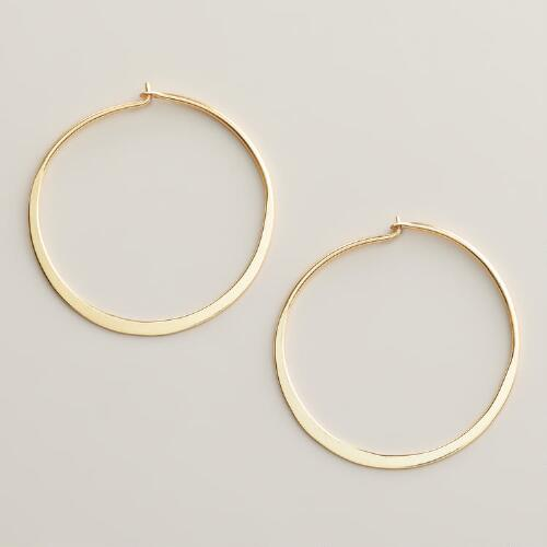 Gold Shiny Hoop Earrings