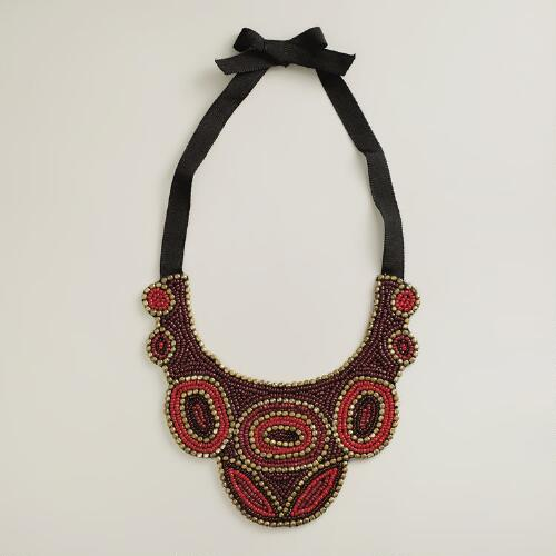 Red Seed Bead Bib Statement Necklace