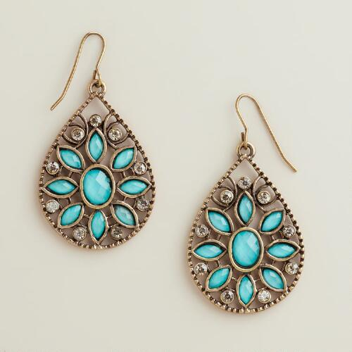 Turquoise and Rhinestone Flower Teardrop Earrings