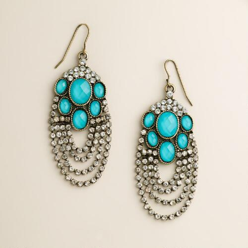 Turquoise and Rhinestone Drape Chandelier Earrings