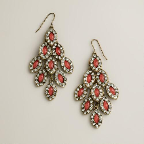 Coral and Rhinestone Tiered Chandelier Earrings