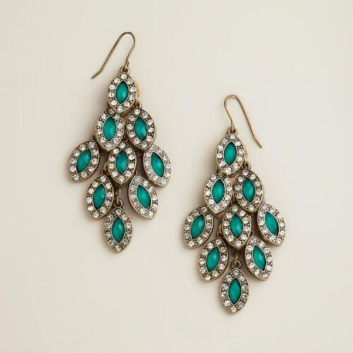 Emerald and Rhinestone Tiered Chandelier Earrings