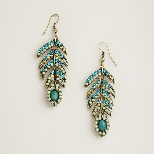 Turquoise Stone Ombre Leaf Earrings