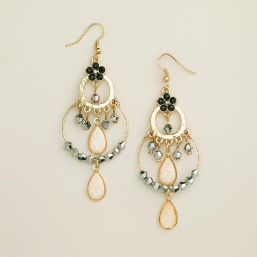 Gold Sparkle Beaded Chandelier Earrings