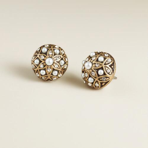 Gold and Pearl Round Stud Earrings