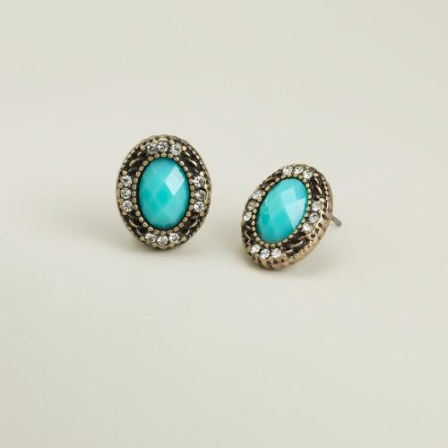 Turquoise Oval Statement Stud Earrings