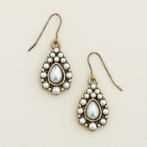 Gold and Pearl Teardrop Earrings