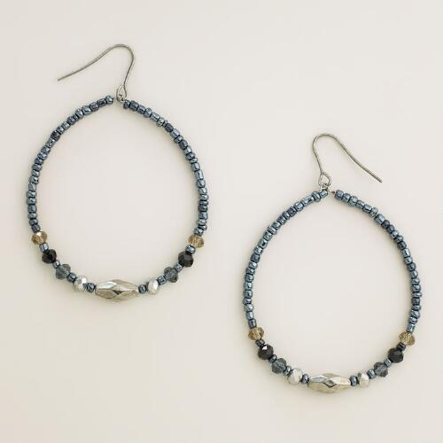 Blue and Hematite Sparkle Bead Hoop Earrings
