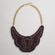 Purple Bead Bib Statement Necklace