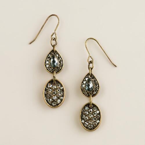 Gold Pavé Link Drop Earrings