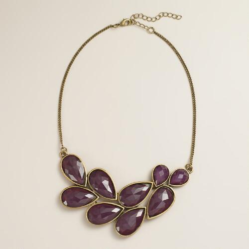 Purple and Gold Faceted Stone Bib Necklace