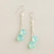 Sterling Silver Aqua and Pearl Double Drop Earrings