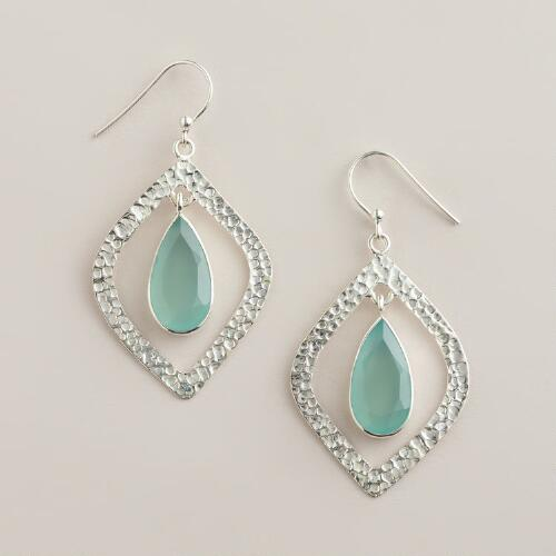 Sterling Silver Aqua Teardrop Dangle Earrings