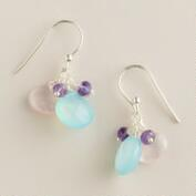 Sterling Silver Aqua, Rose and Amethyst Double Drop Earrings