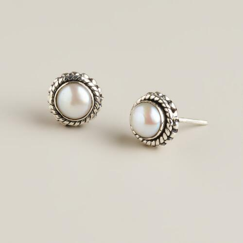 Sterling Silver and Fresh Water Pearl Stud Earrings