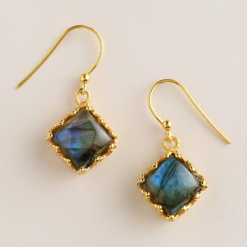 Sterling Silver Antiqued Gold Labradorite Drop Earrings