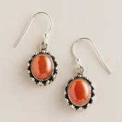 Sterling Silver and Carnelian Oval Drop Earrings