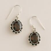 Sterling Silver and Smokey Topaz Oval Drop Earrings