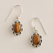 Sterling Silver and Tiger's Eye Drop Earrings